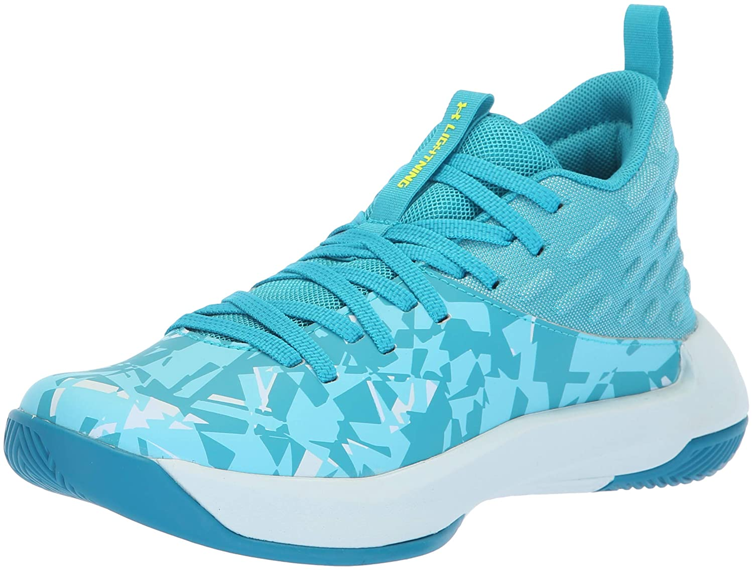 Under Armour Girls' Grade School Lightning 5 Basketball Shoe, Deceit (300)/Halogen Blue, 4.5 3020436