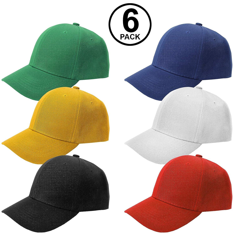 Amazon.com  CoverYourHair Baseball Caps - Colored Baseball Hats - Plain  Baseball Caps - 6 Pack  Sports   Outdoors 3a16a23ddf8