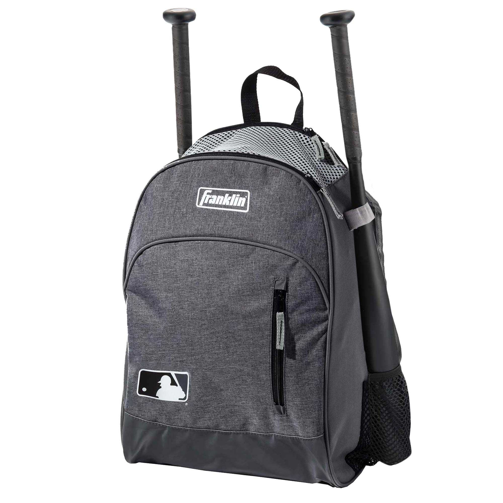 Franklin Sports MLB Batpack Bag - Youth Baseball, Softball and Teeball Bag - Equipment Bag For Sports - Bag Holds Bats (2) and Includes Fence Hook - Heather Grey by Franklin Sports