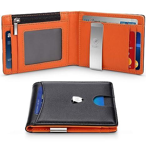 Portafoglio Uomo Vera Pelle Blocco RFID con fermasoldi 29e99c891c3c
