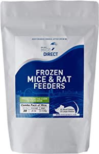 MiceDirect Frozen Mice Combo Pack of 30 Small & Large Pinkies Feeder Mice – 15 Small Pinkies & 15 Large Pinkies -Food for Corn Snakes, Ball Pythons, Lizards & Pet Reptiles-Freshest Snake Feed Supplies