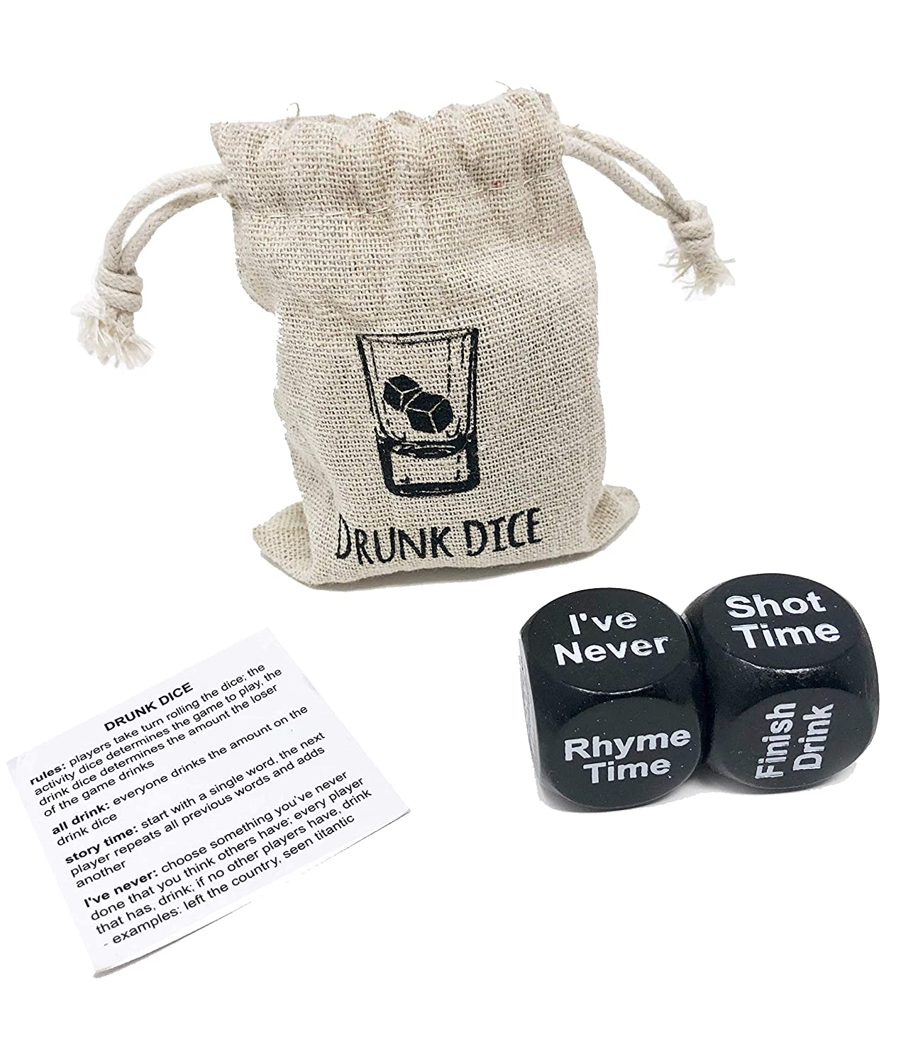 Games Include: Ive Never Truth Dare Drunk Dice Most Likely Adult Drinking Dice Party Game 2 Sets : 4 Pcs Dice 2 Carry Bags Total