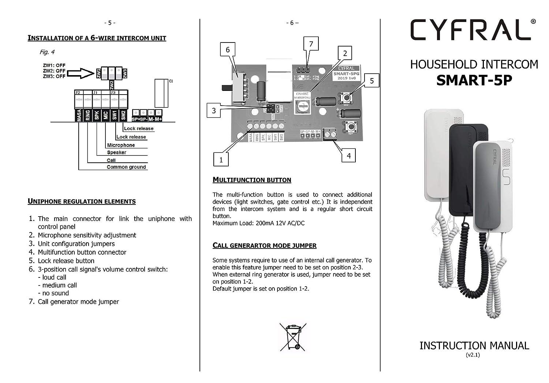 5 Gris cyfral 5905669169059/Smart 5P Universal Casa Tel/éfono 4/Plus N 4 6/Sistema de Alambre Negro