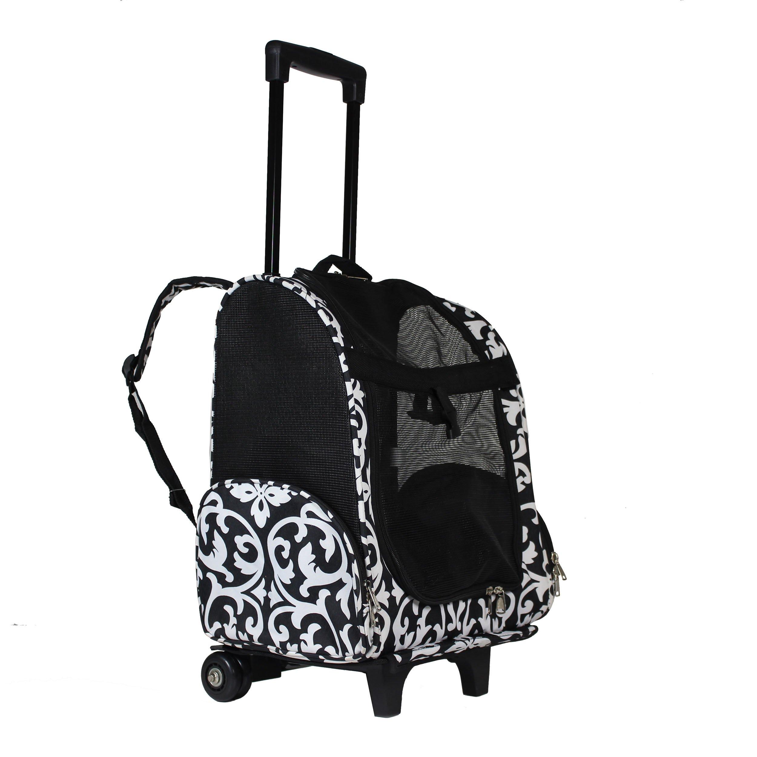 World Traveler Women's 18'' Rolling Pet Carrier Backpack Convertible-Black Trim Damask Fashion, One Size