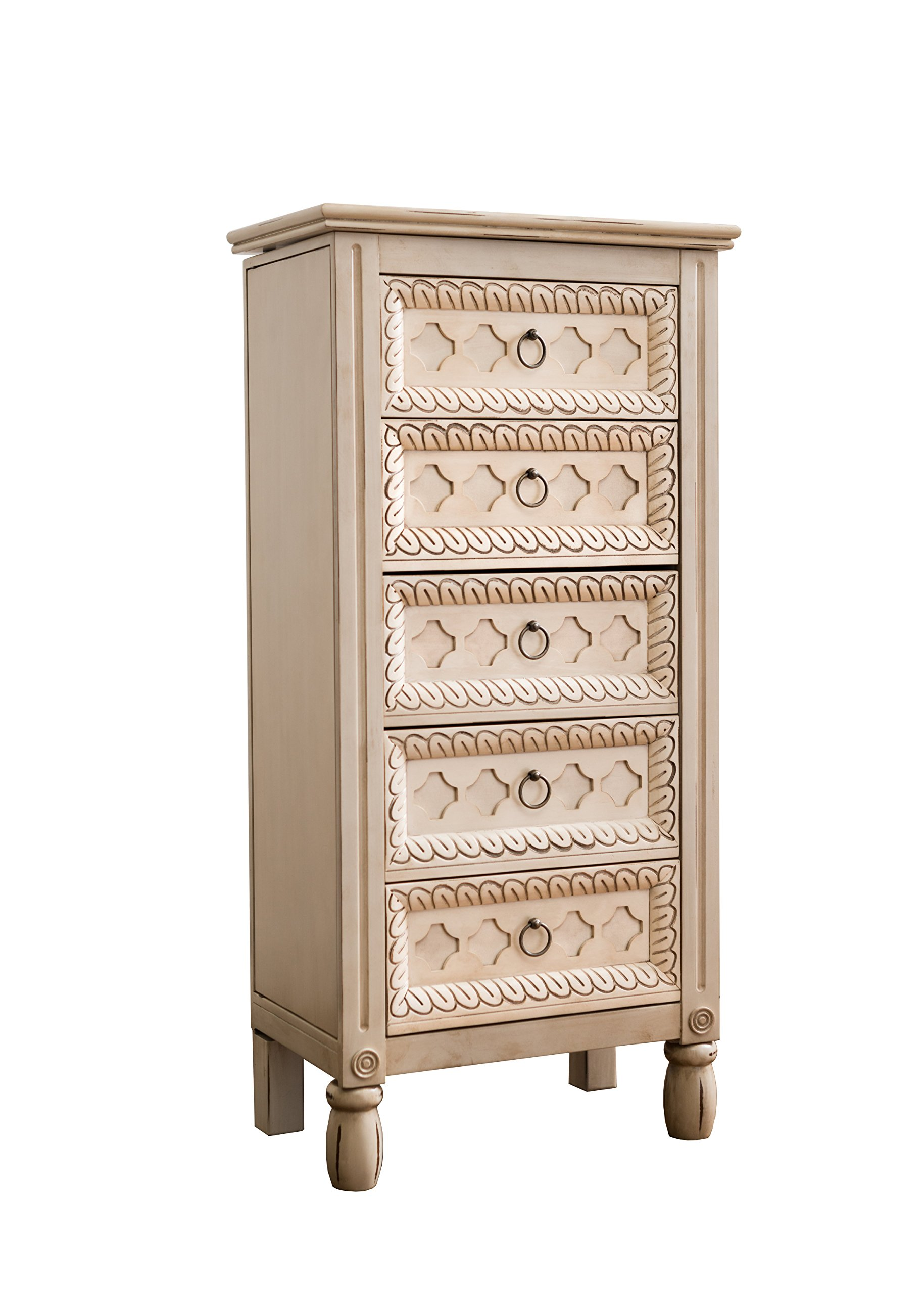 Hives and Honey 1004-061 Abby Jewelry Armoire, 40.25in X 19.5in X 11.75in, Antique Ivory