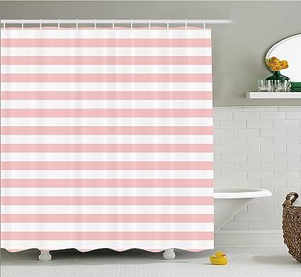 Lunarable Blush Shower Curtain Retro Style Pastel Colored Pink Stripes On White Background Vintage Geometric