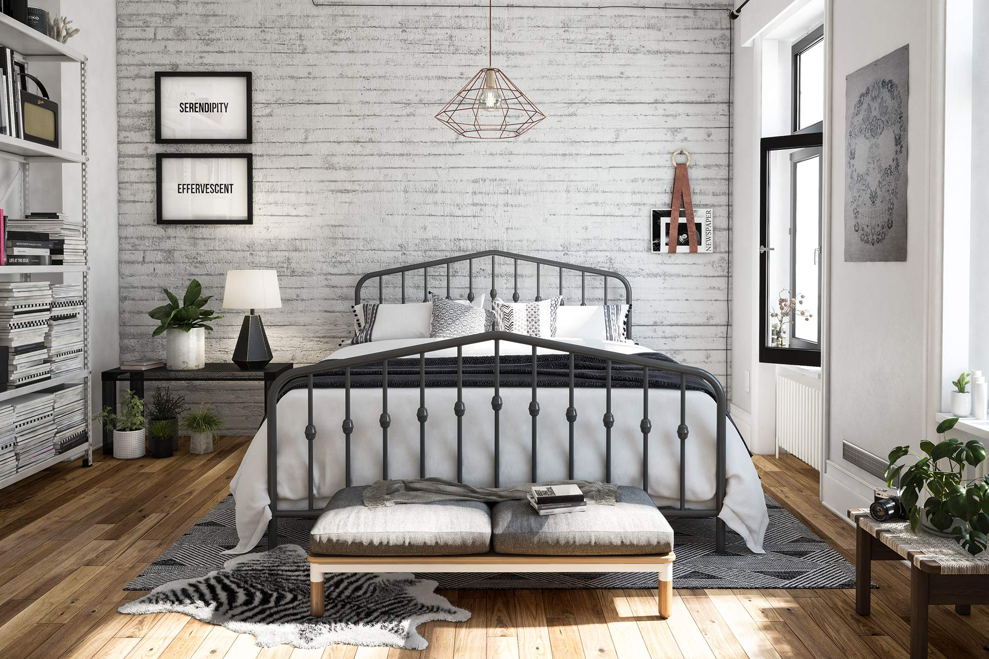 Novogratz Bushwick Metal Bed, Queen, Grey by Novogratz