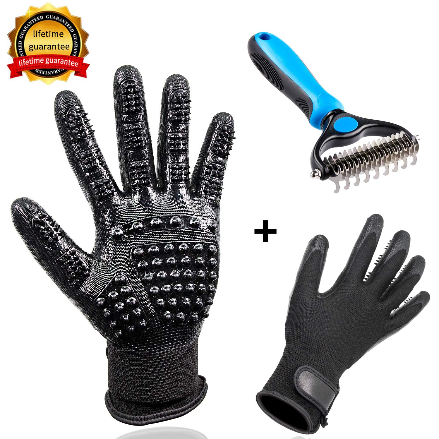ldcx Massage Gloves Pet Grooming Tool Dematting Comb/Grooming Glove Set, 2 Sided Undercoat Grooming Rake Gentle De-Shedding Brush for Dogs Cats Horses with Long Short Fur, Efficient Pet Hair Remover by ldcx