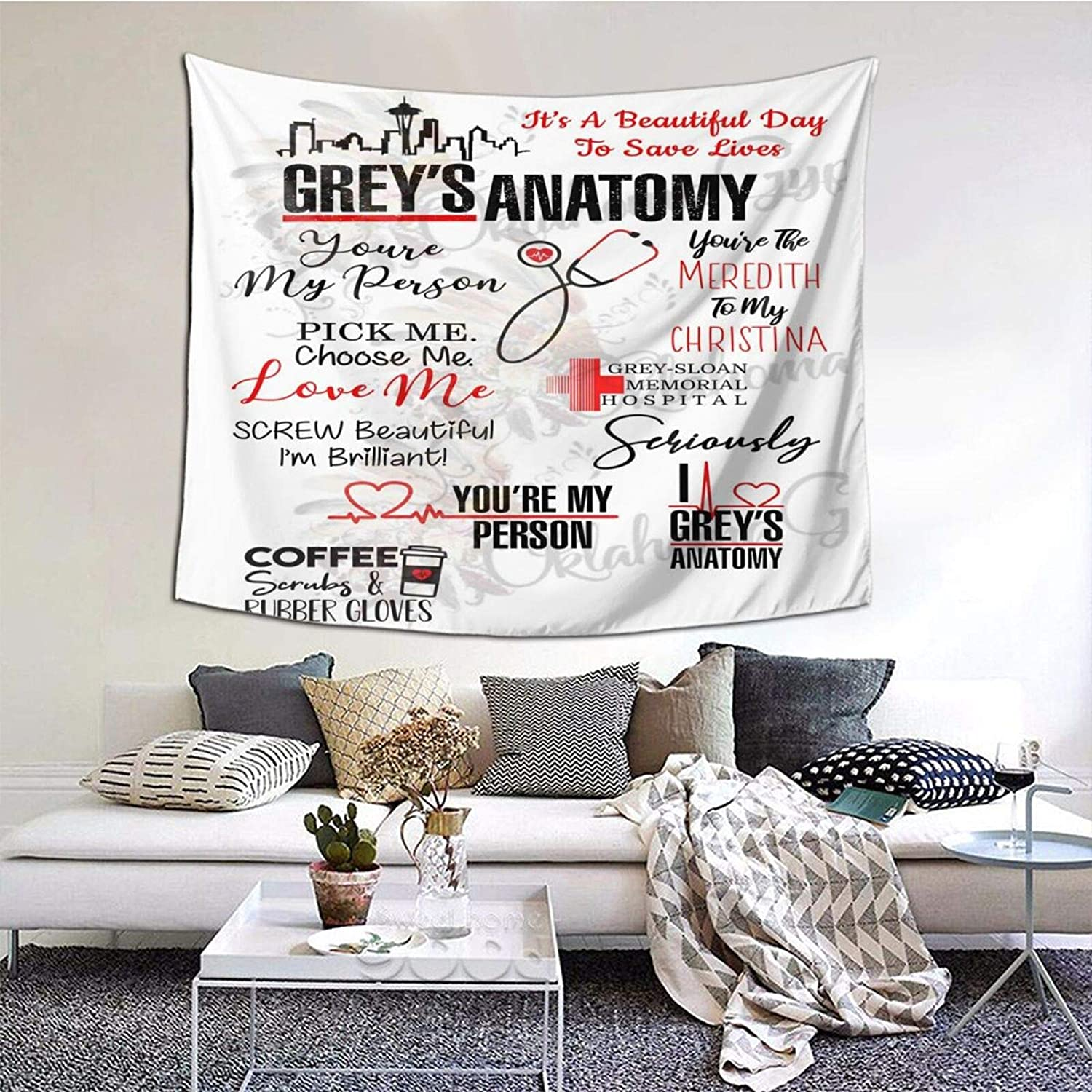 Tsugar Grey's Anatomy Tapestry Wall Hanging Bedroom Home Decor for Living Room 59 X 59 Inches