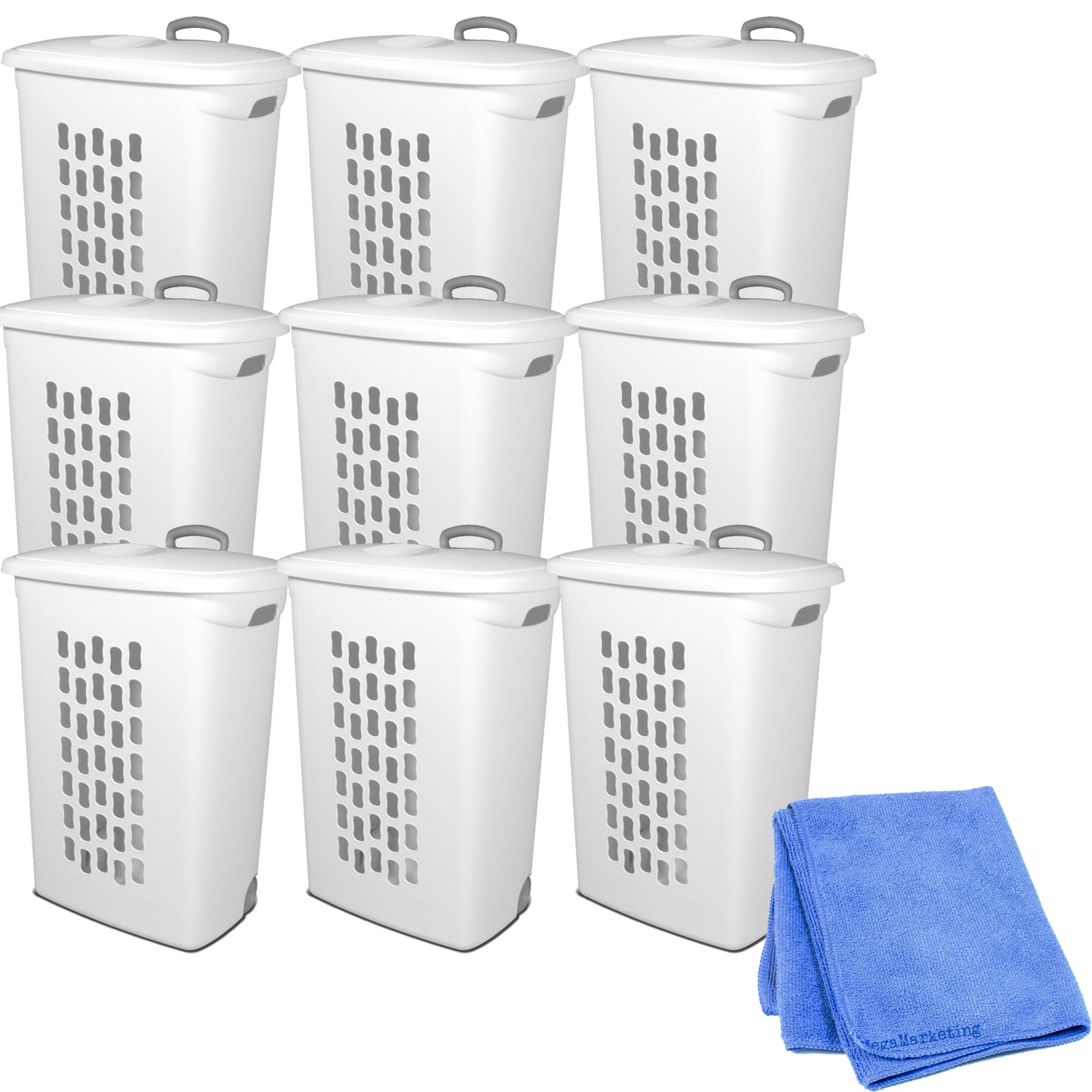 Sterilite 12228003 Ultra Wheeled Hamper, White Lid & Base w/ Titanium Handle & Wheels, 9-Pack with Cleaner Cloth by STÉRILITE