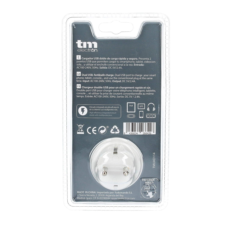 TM Electron TMUAD114B - Adaptador de corriente cargador con una toma de enchufe y 2 tomas USB, color negro: Amazon.es: Electrónica