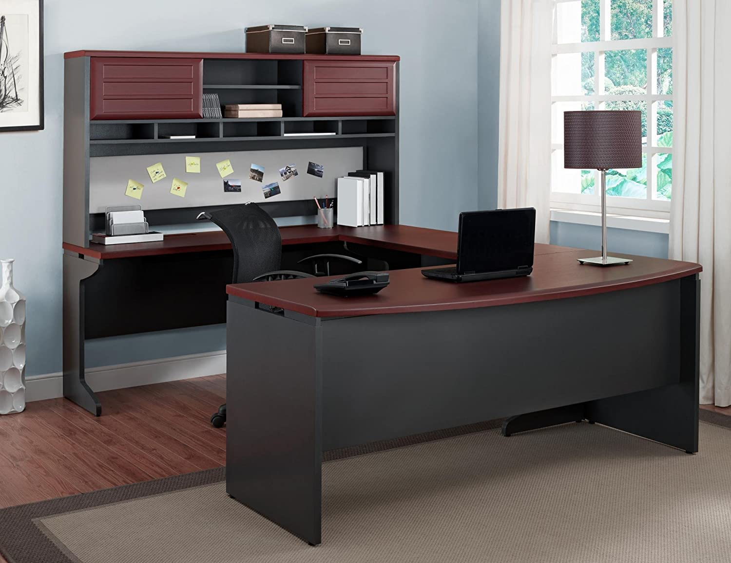 Amazon com ameriwood home pursuit u shaped desk with hutch bundle cherry kitchen dining