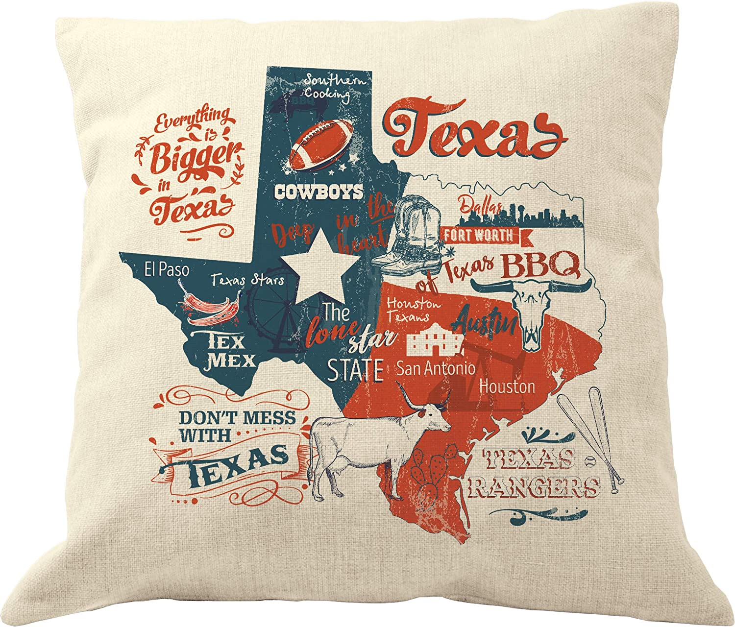 Drupsco 18x18 Texas Throw Pillow Cover Cotton Linen Texas Decor Pillow Case Texas Themed Home Decor Home Kitchen