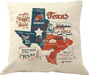 DrupsCo 18x18 Texas Throw Pillow Cover - Cotton Linen Texas Decor Pillow Case, Texas Themed Home Decor