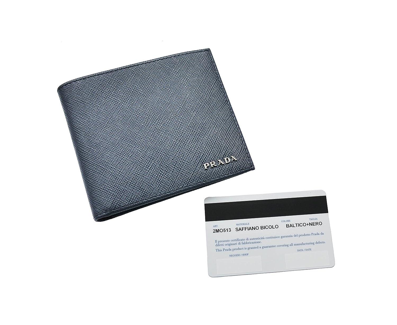 8097f1cd20cf Prada Mens Saffiano Bicolo Blue/Black Leather Billfold Wallet 2MO513:  Amazon.co.uk: Luggage