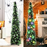 HMASYO 5 Foot Black Tinsel Halloween Christmas Tree with 50 Color Lights - Collapsible Pop Up Spider Sequin Artificial Pencil