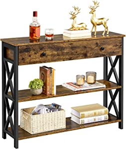 YAHEETECH Console Table for Entryway with 1 Drawer and 2 Storage Shelves, 3 Tier Sofa Table Industrial Hallway Table for Sofa/Entryway/Living Room, X-Design, Rustic Brown