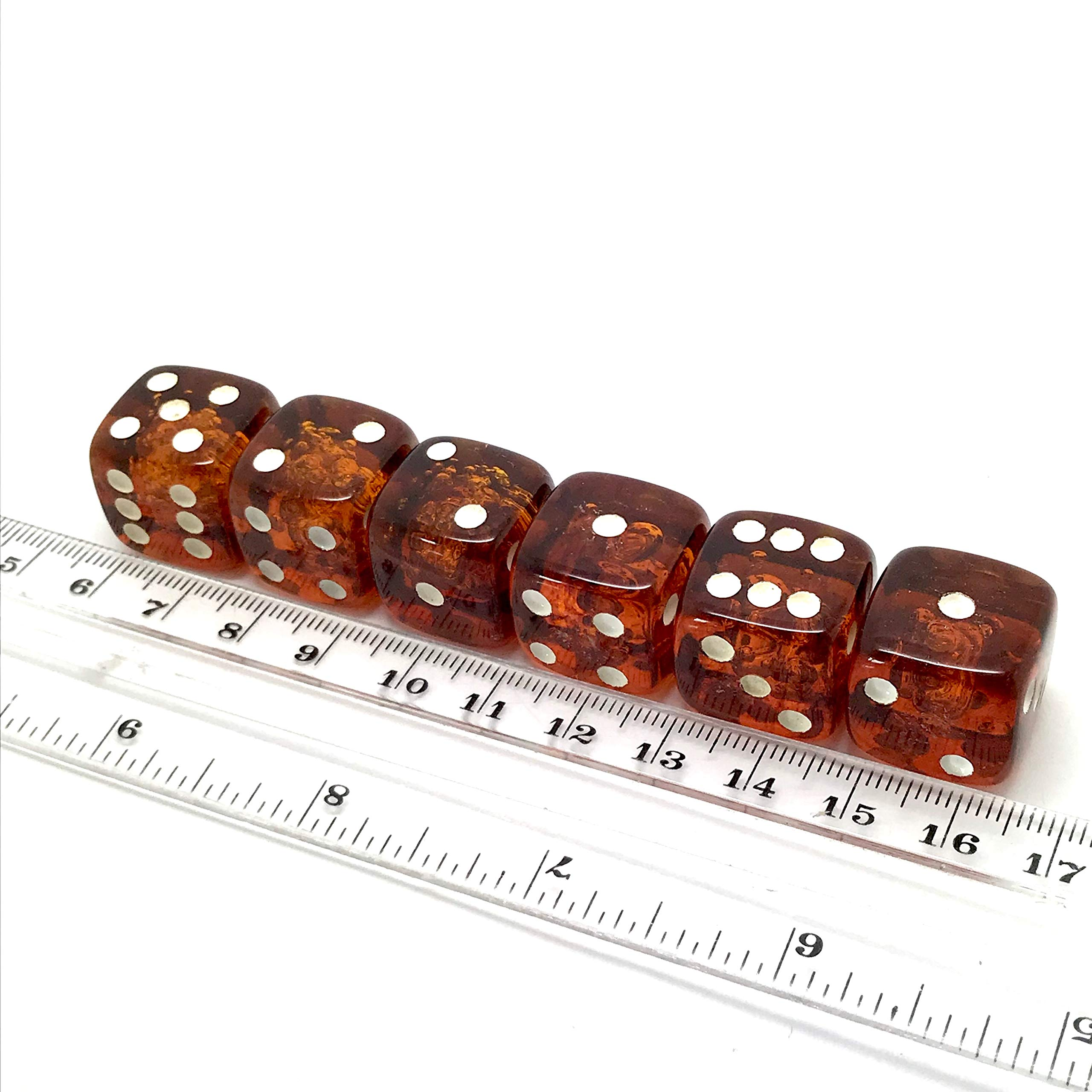 x6 Proper size Amber Dice set for Board games and Gambling by Generic (Image #6)