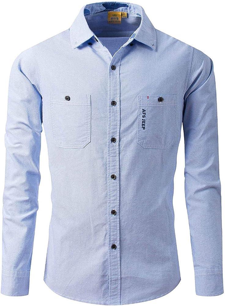 Hombre Camisa s Fit s Manga Larga Slim Chic Friends Solapa Color Botón Negocio Oficina Traje Camisa Tops Blusa Otoño (Color : Azul Claro, Size : M): Amazon.es: Ropa y accesorios