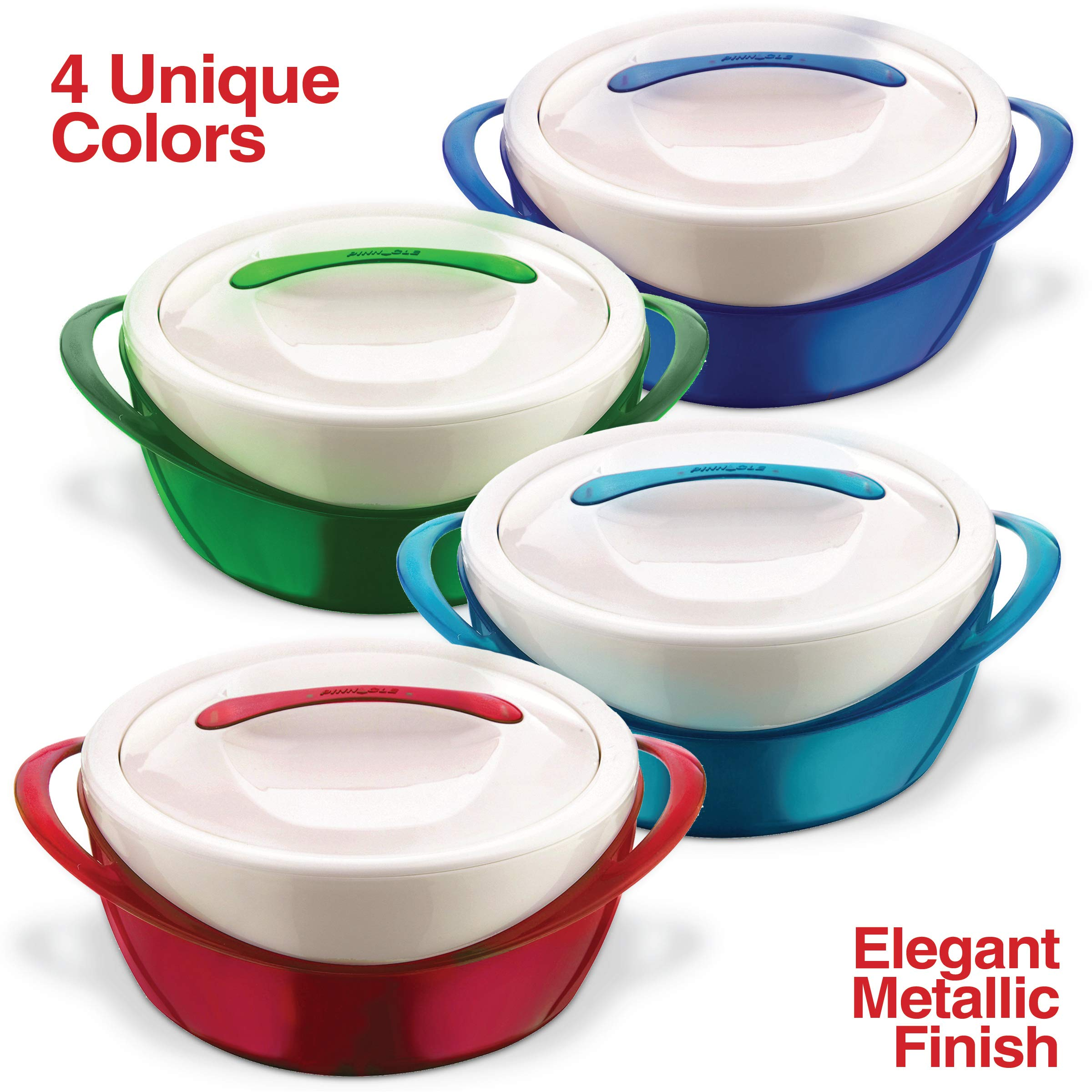 Pinnacle Casserole Dish - Large Soup and Salad Bowl - Insulated Serving Bowl With Lid (3.6 qt, Blue) by Pinnacle Thermoware (Image #4)