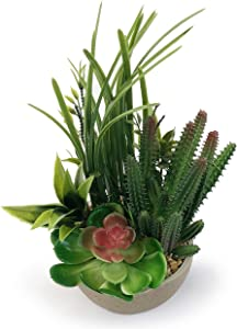 Allgala Small Desktop Artificial Combination Succulent Plant Group with Natural Clay Pot