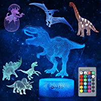 Dinosaur Night Light for Kids, 3D Dinosaur Toys (5 Patterns) Dimmable with Remote Control & 16 Colors Changing & Smart…