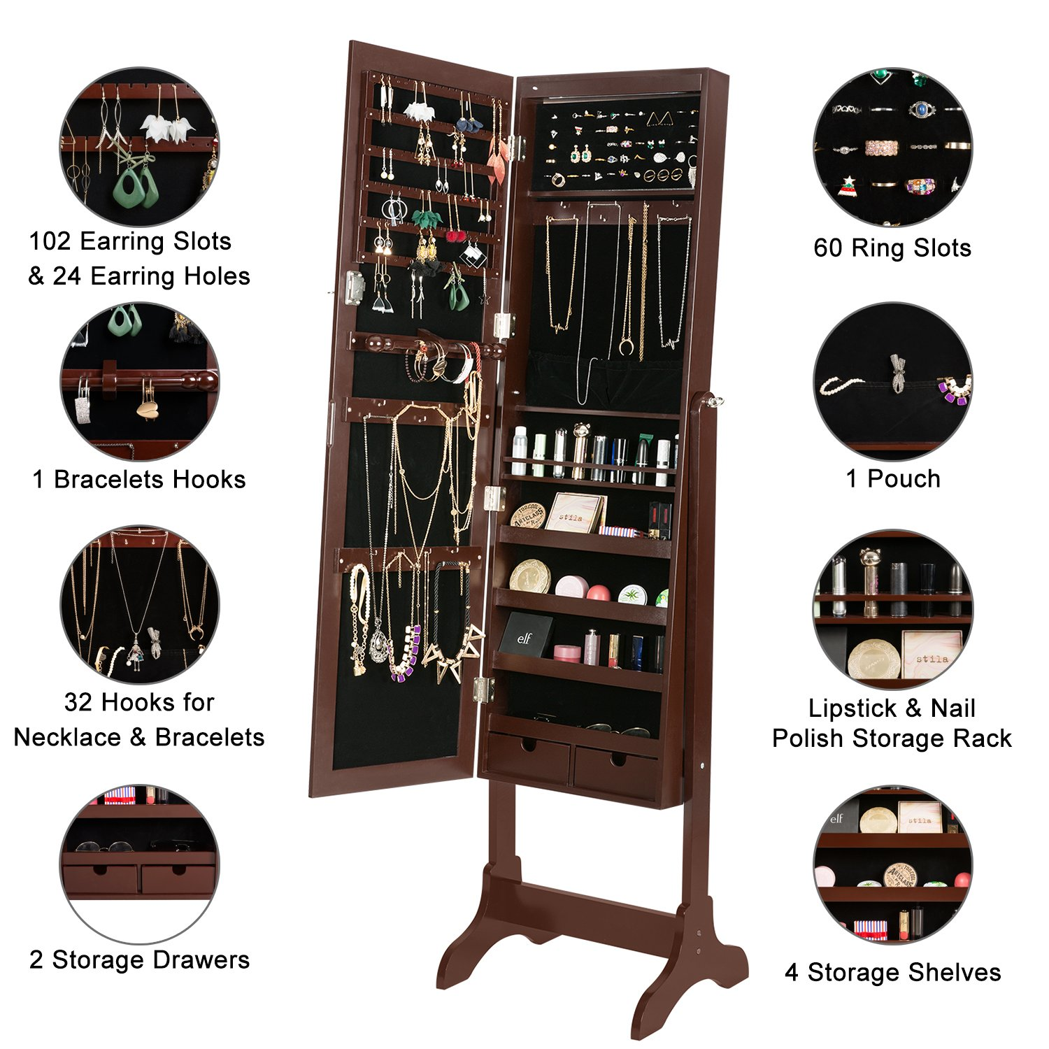 HollyHOME Mirrored Jewelry Cabinet Lockable Standing Jewelry Armoire Holder Organizer with LED Lights, 4 Angle Adjustable, Brown by HollyHOME (Image #3)