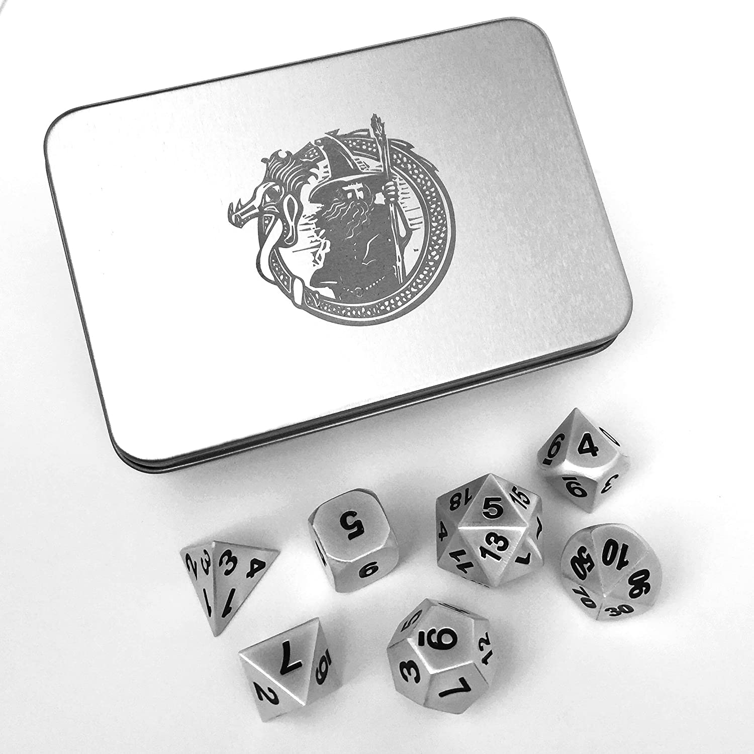 Amazon.com: DragonSteel Solid Metal Polyhedral 7 Die Du0026D Dice Set With Case  | For Tabletop D20 RPGs Like DnD And Pathfinder Roleplaying Game, Board  Games, ...