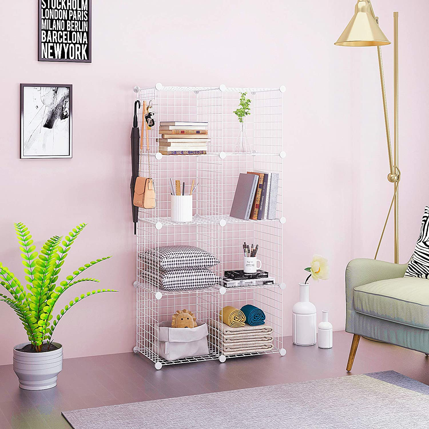 8 Cubes Closet Organizer for Home Office Kids Room 24.8 L x12.4 W x 48.4 H White Modular Shelving Units Metal Grids Book Shelf C/&AHOME Wire Storage Cubes Stackable Bookcase