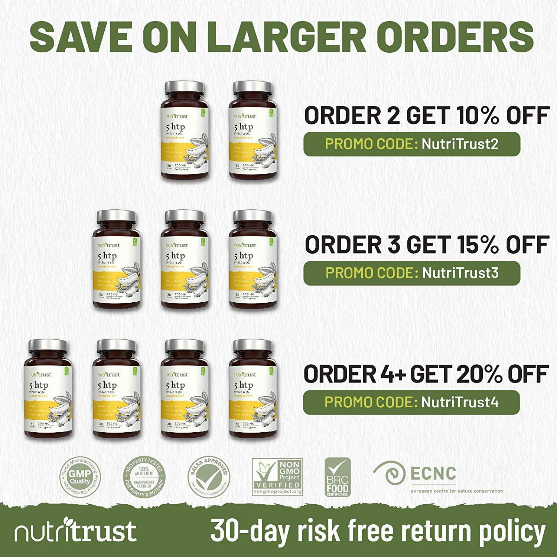 Cápsulas 5-HTP 200mg Productos Naturales de Nutritrust® - Fórmula natural alta resistencia - Soporte sueño, ánimo y ansiedad - Suplemento alimenticio ...