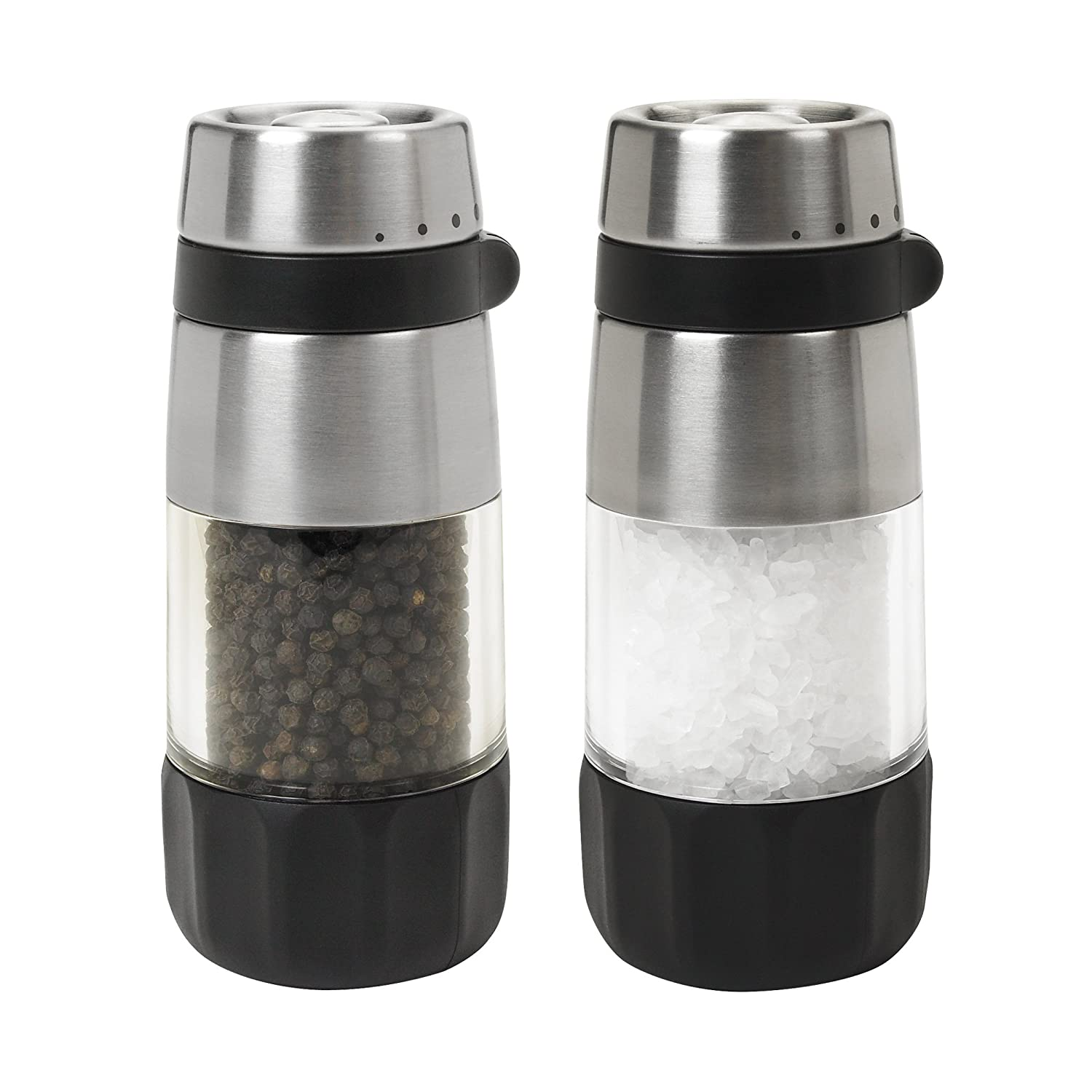 OXO Salt and Pepper Grinder Set, Stainless Steel