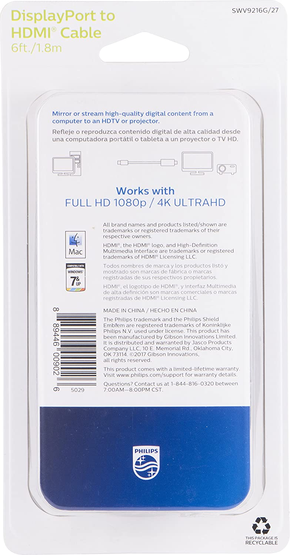 PHILIPS SWV9216G/27 Adaptador de Cable DisplayPort HDMI Negro ...