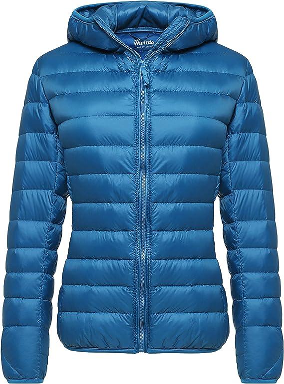 Wantdo Womens Packable Puffer Down Jacket Lightweight Winter Coat Hooded Down Coat
