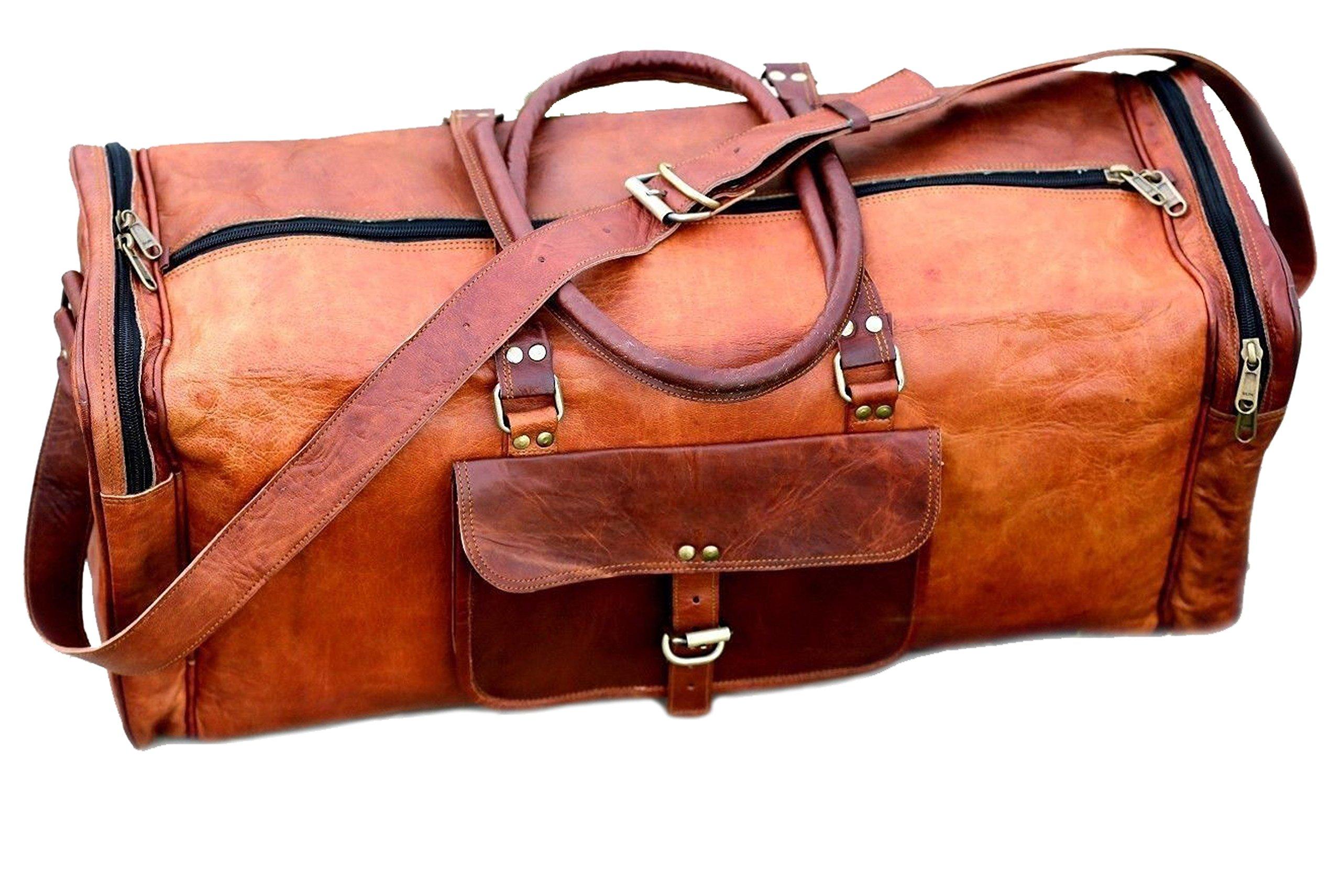 24 Inch Vintage Leather Duffel Travel Gym Sports Overnight Weekend Duffel Bag