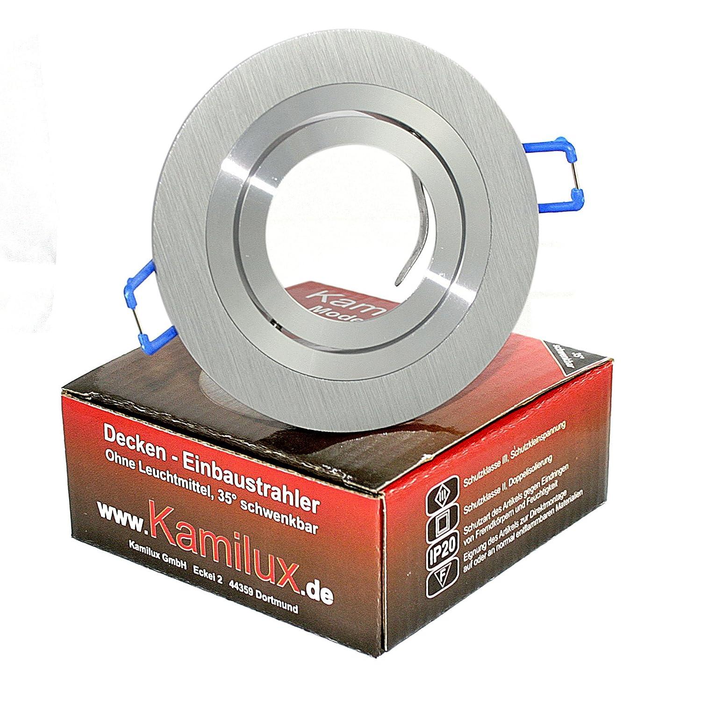 1 x diseño techo lámpara de techo empotrable de montaje Foco empotrable anillo Alu Elegance redondo color: aluminio cepillado adecuada para LED halógeno ...