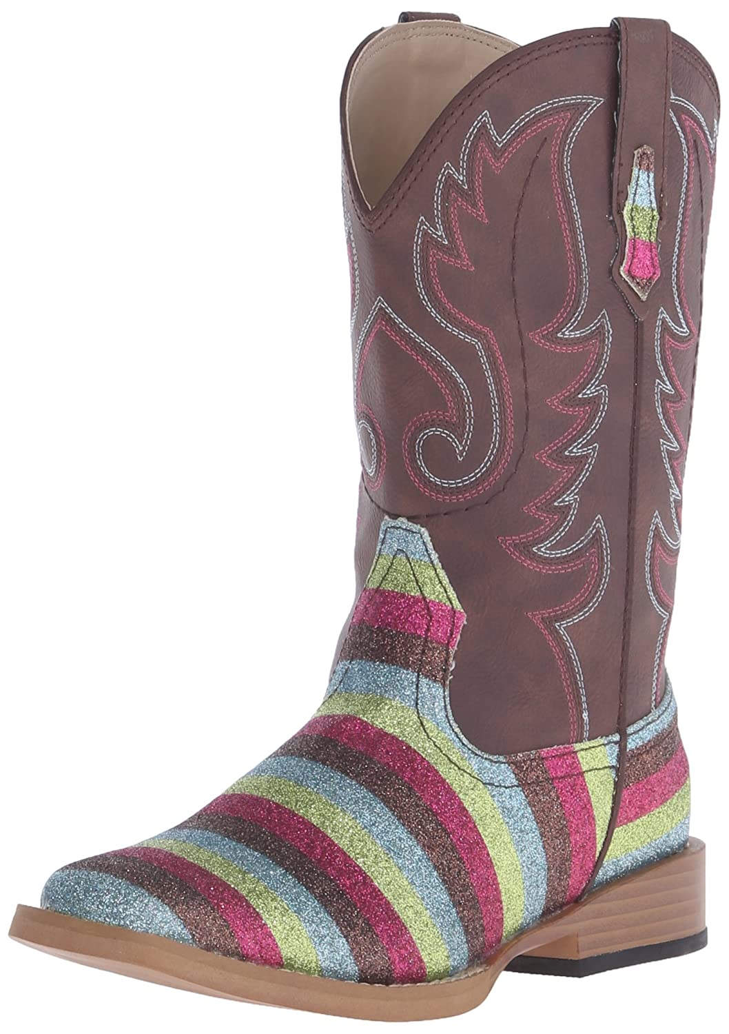 Brown 3 Brown 3 Roper Girls Kids Glitter Stripes Wide Square Toe Western Boot