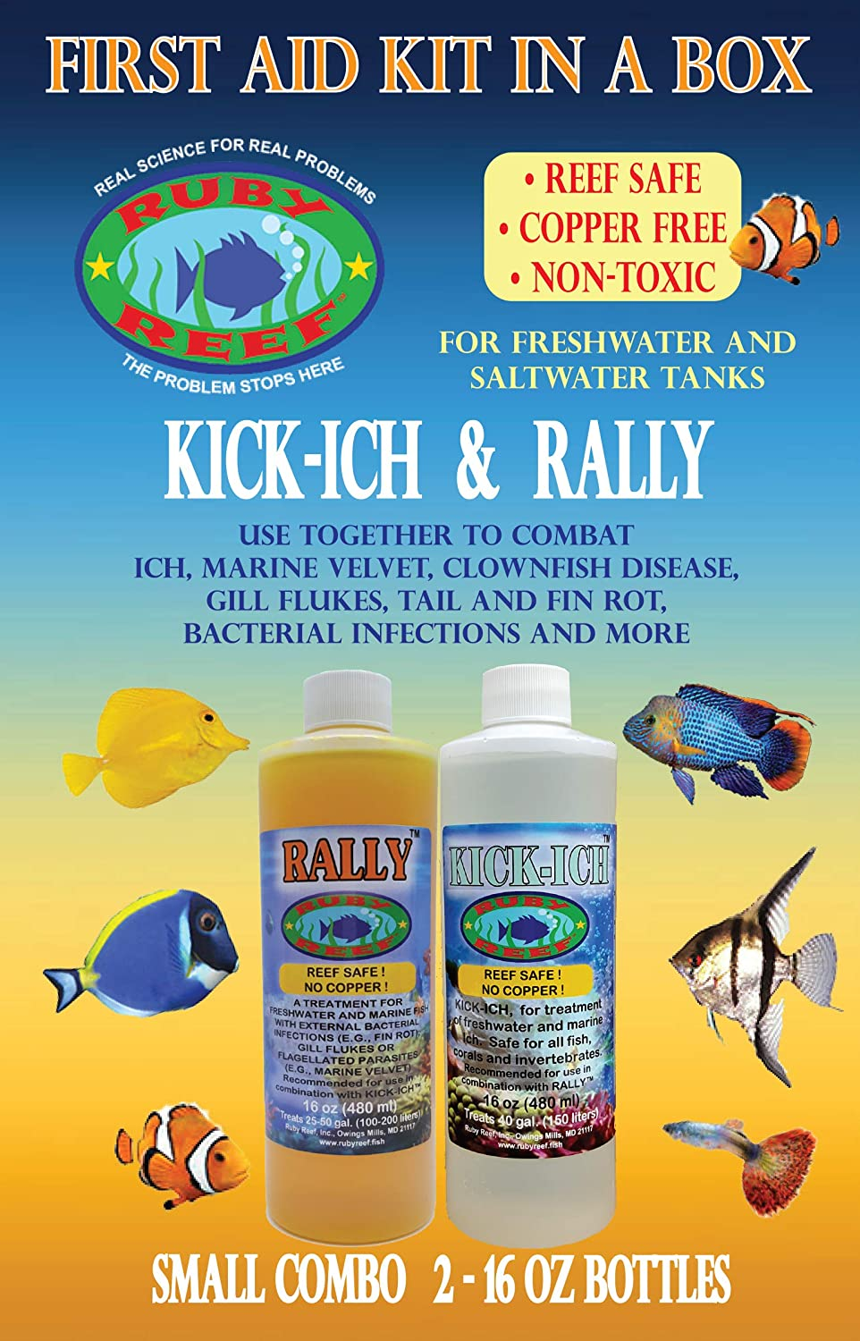 Ruby Reef ARR11161 Kich-Ich and Rally Aquarium Combo Pack Water Treatment 16-Ounce