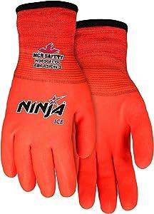 Ninja Ice N9690FCO Hi-Visibility Work Gloves, 15 Gauge Orange Nylon, HPT Fully Coated, Large