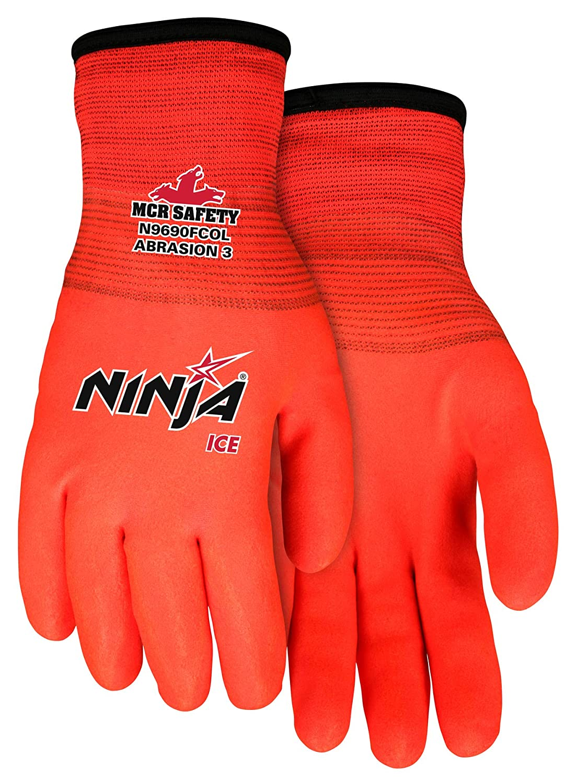 Ninja Ice N9690FCO Hi-Visibility Work Gloves, 15 Gauge Orange Nylon, HPT Fully Coated, X-Large
