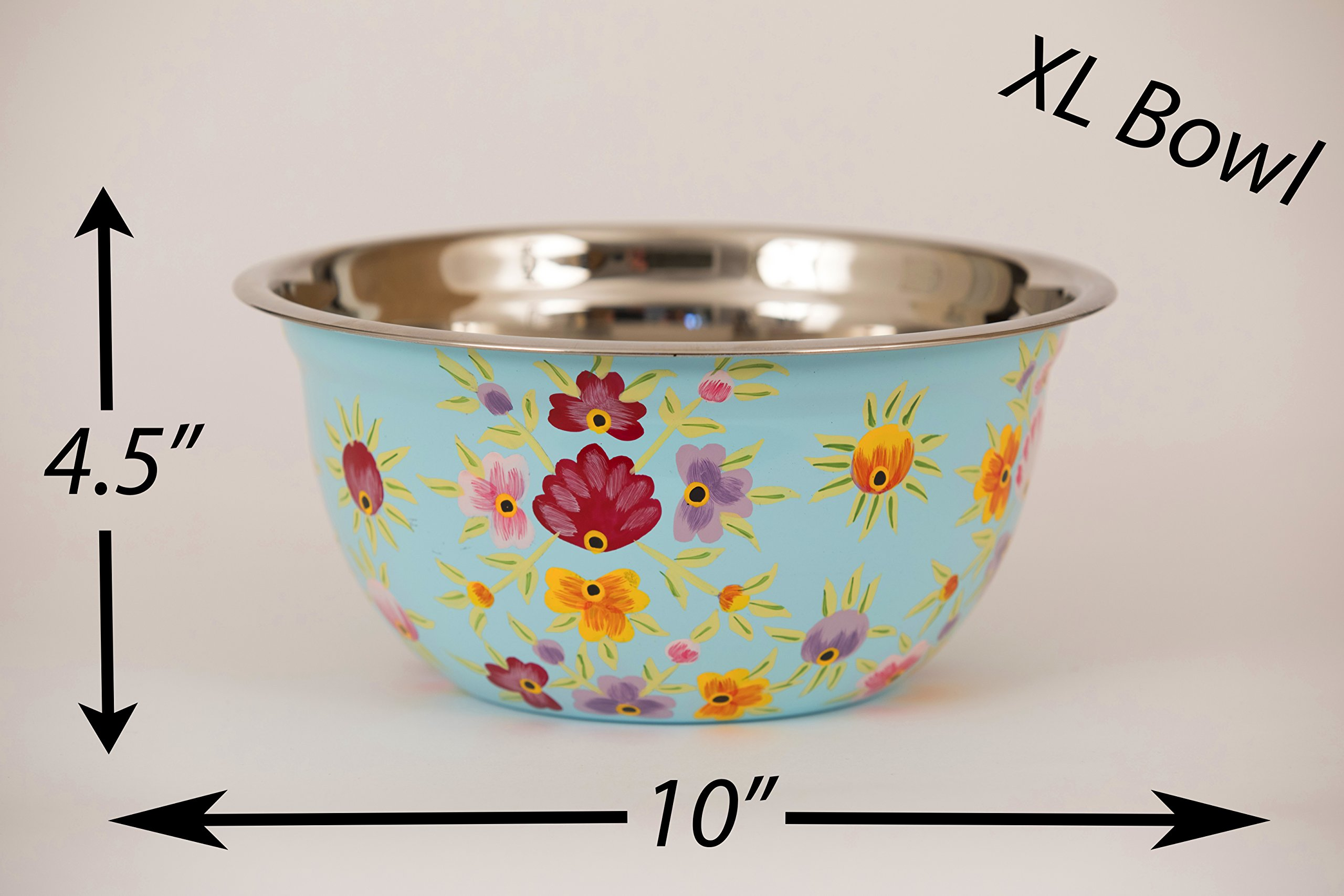 """Hand Painted Stainless Steel Bowl – Large Salad Bowl, Fruit Bowl, Mixing Bowl, & More – Decorative, Handmade Floral Art Bowl for Serving and Home Décor, 10"""" Diameter, 3.6L Volume by, Spices Home Decor by Spices home decor (Image #6)"""