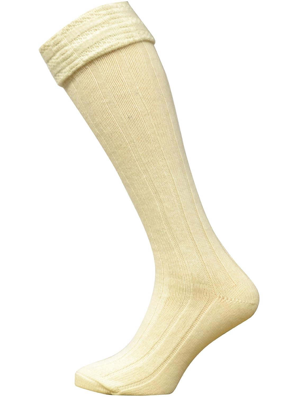 2 Pairs Mens/Gentlemens Scottish Highland Wear Kilt Hose Socks UK Size: 6-11, EUR: 39-45, Cream