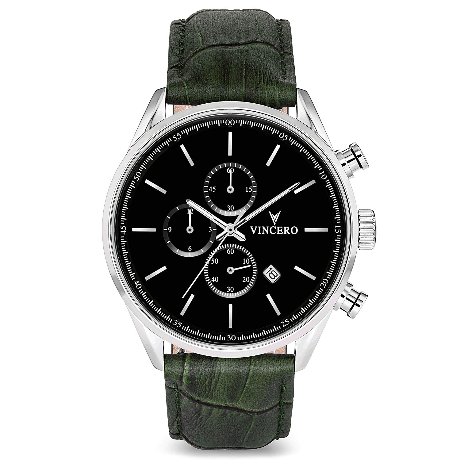 Amazon.com: Vincero Luxury Mens Chrono S Wrist Watch — Black dial with Olive Leather Watch Band — 43mm Chronograph Watch — Japanese Quartz Movement: ...