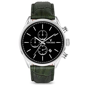 Vincero Luxury Mens Chrono S Wrist Watch — Black dial with Olive Leather Watch Band —