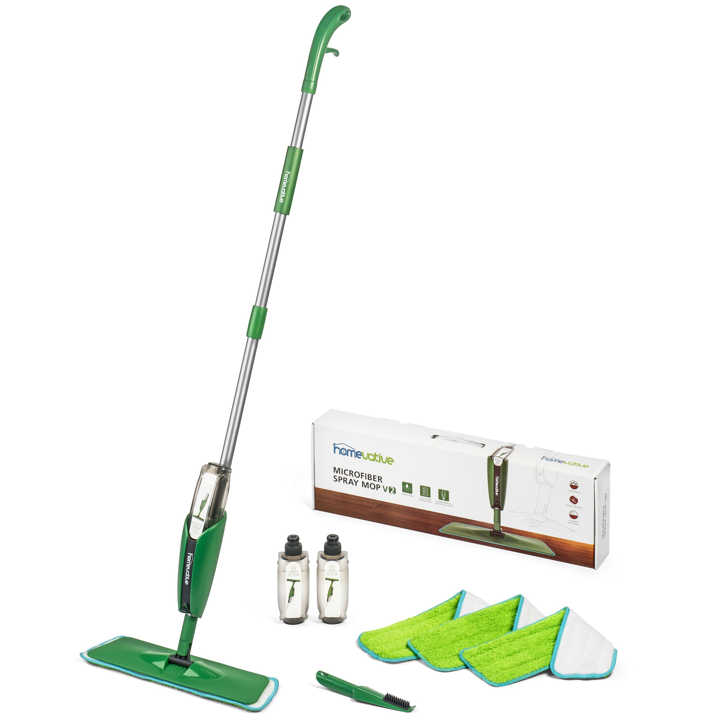 Homevative Microfiber Spray Mop Kit /w 3 pads, 2 bottles, and Precision Detailer, Floor push mop for kitchen, bathroom, by Homevative