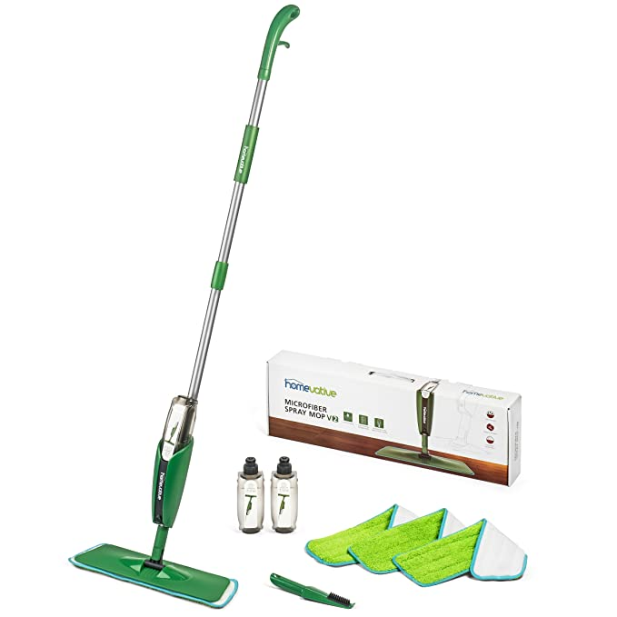 Homevative Microfiber Spray Mop Kit /w 3 pads, 2 bottles, and Precision Detailer, Floor push mop for kitchen, bathroom,