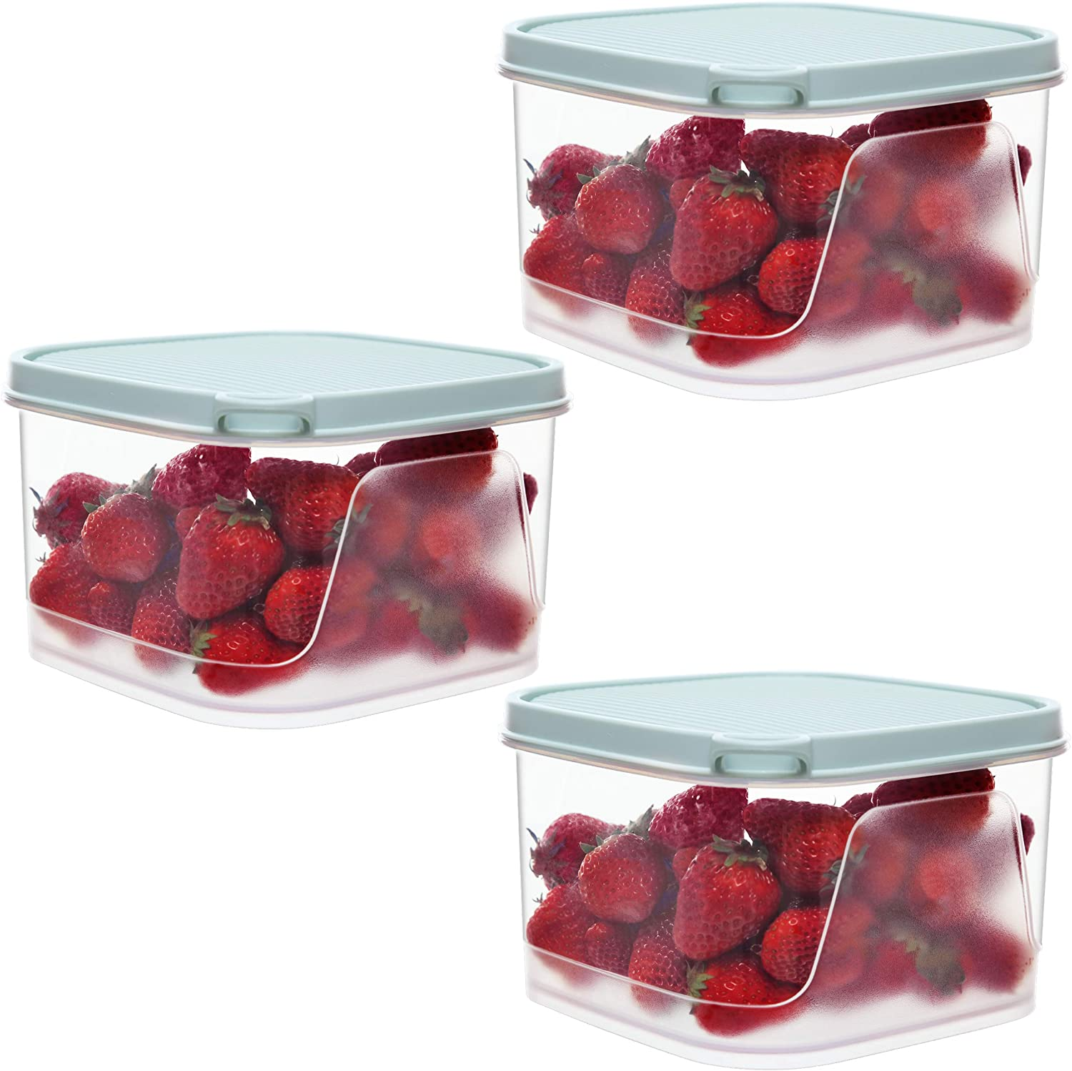 Citylife 3 PCS 86oz Food Storage Containers Airtight Plastic Food Containers with Lids Kitchen Fridge Containers for Food Leak Proof & Microwave Safe