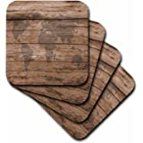 3dRose cst_205047_2 Print of Map of World on Wood Soft Coasters, (Set of 8)