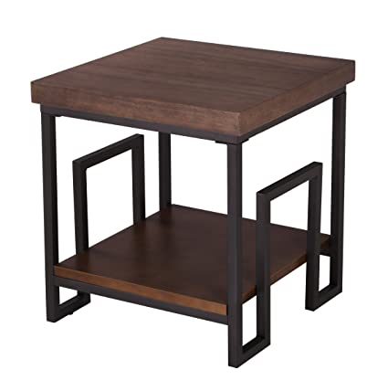 Amazoncom Square Metal And Wooden End Side Accent Table With