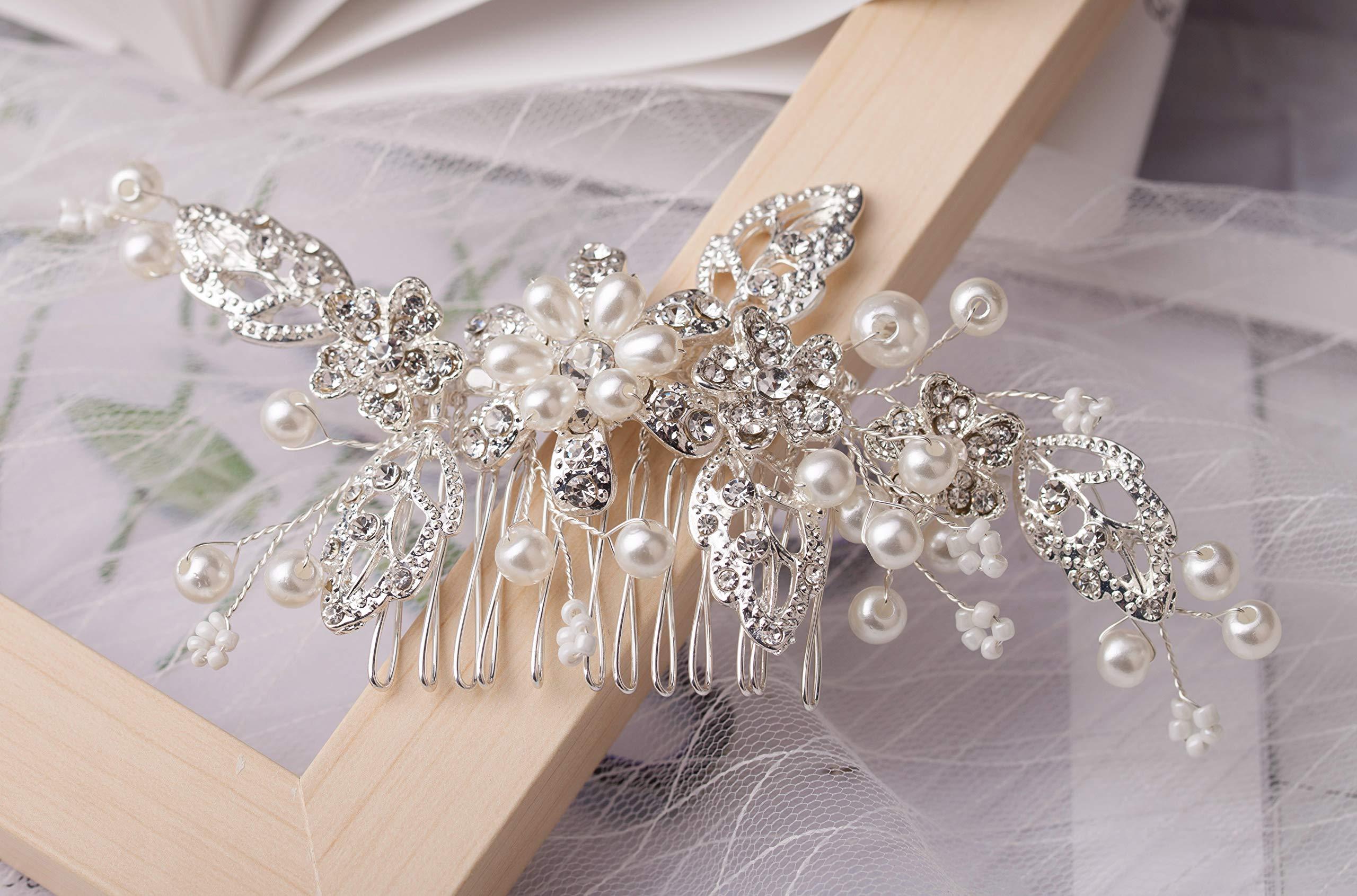 SNOWH Wedding Hair Accessories for Women Pearl Bridal Hair Comb Rhinestone Hair Clips Handmade Headpieces for Brides Bridesmaid, Silver by SNOWH