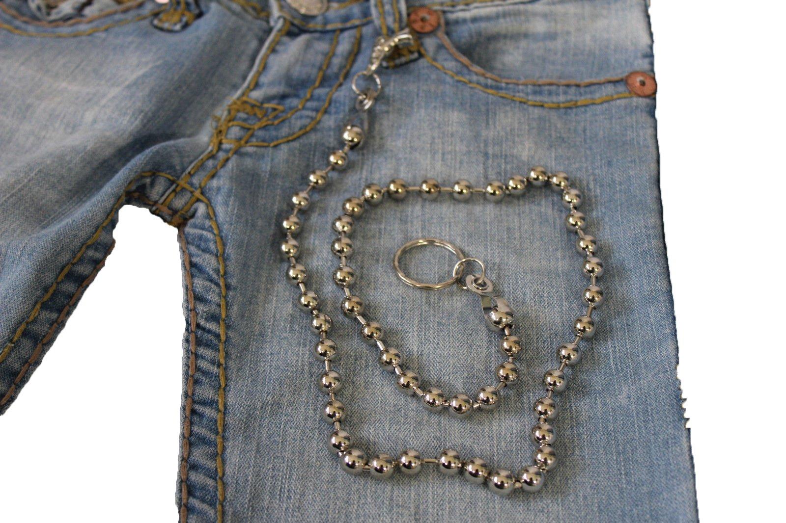 TFJ Men's Fashion Wallet Chain Big Metal Balls Extra Long 34 Inches (silver)